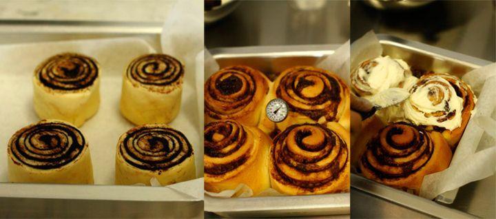 Выкладываем булочки на противень, запекаем в духовке, смазываем кремом