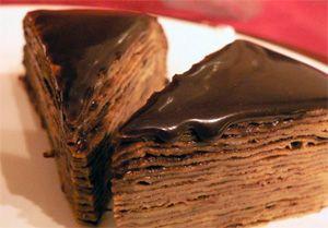 Блинный торт с начинкой из шоколада