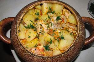 как приготовить картошку с курицей и грибами в духовке
