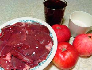 Продукты для приготовления печени в вине