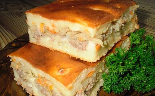Домашний пирог с капустой и мясом