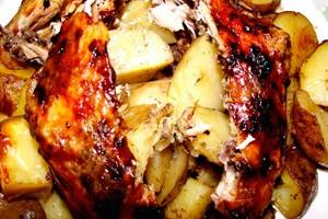 Курица фаршированная картошкой
