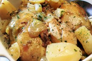 курица с картошкой в сливочном соусе с грибами в духовке