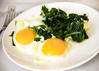 Омлет со шпинатом 🥝 замороженным, рецепт приготовления, фото