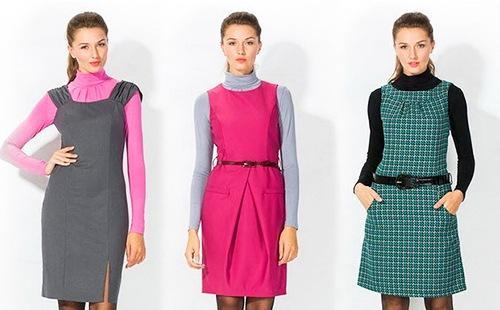 Три варианта цветовых сочетаний при ношении сарафана