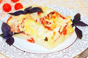 Картофельная запеканка с сыром и помидорами