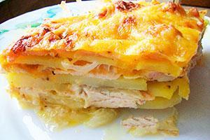 Запеканка из картофеля и куриного мяса
