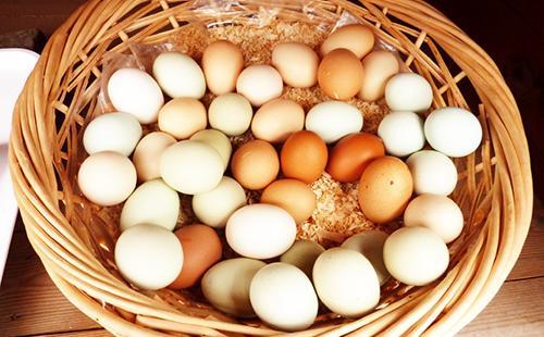 Разноцветные яйца в плетёной корзине