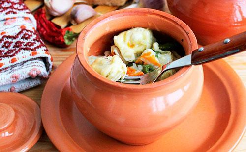 Пельмени в горшочке с грибами 🥝 как запечь с печенью и по царски, приготовление