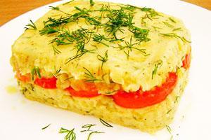 Запеканка из картофельного пюре с помидорами