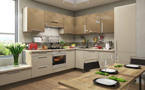 Дизайн угловой кухни в светло-коричневых цветах