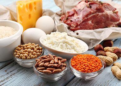 Мясо, яйца, орехи, фасоль