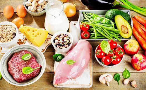 Мясо, овощи, выпечка, молоко