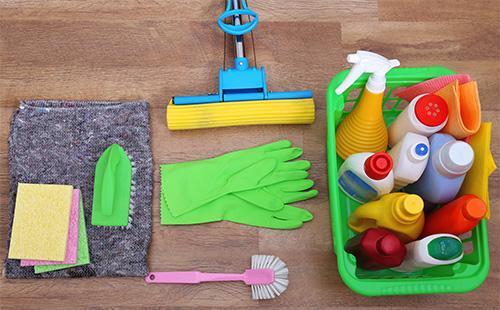 Швабра, рукавицы и моющие средства