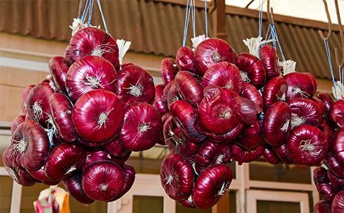 Красные луковицы висят в связке
