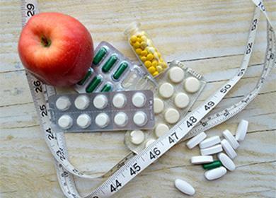 Яблоко, таблетки, сантиметр
