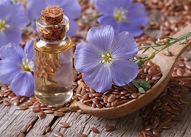 Льянное масло и синие цветки