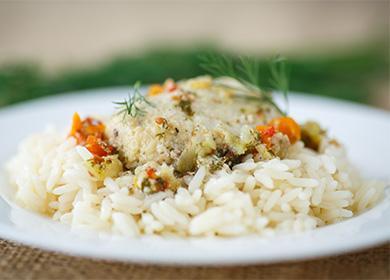 Рис с отварной рыбой