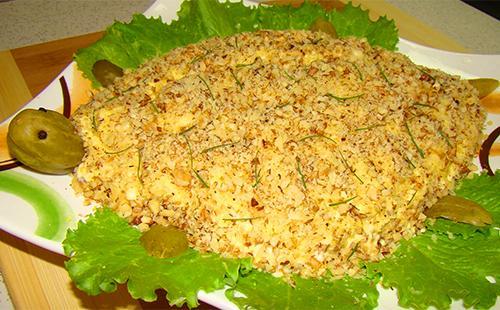 Салат Черепаха с огурцами, сыром и яйцом