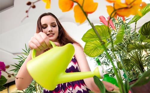 Девушка поливает орхидею
