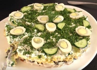 Готовим салат с копченой курицей и грибами по рецепту с пошаговыми фото.
