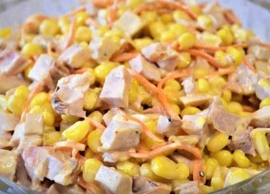 Готовим салат с копченой курицей и кукурузой по пошаговому рецепту с фото!