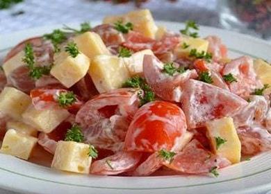 Готовим салат с копченой курицей и помидорами по пошаговому рецепту с фото.