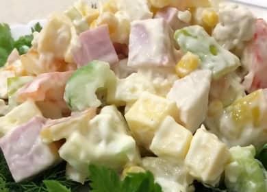 Попробуйте приготовить салат с ананасом курицей и кукурузой