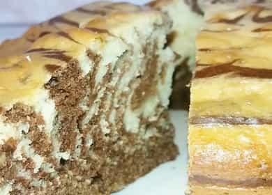 Торт Зебра на кефире — очень легкий рецепт