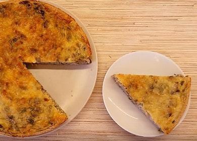 Открытый пирог с капустой и грибами на тонком полезном тесте