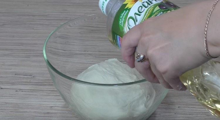 Выкладываем тесто в смазанную растительным маслом миску, его тоже смазываем маслом.