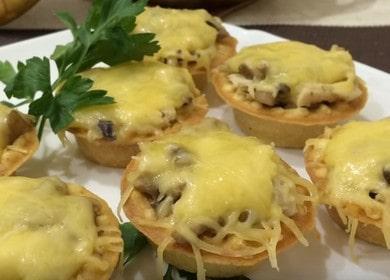 Готовим вкуснейшие тарталетки с курицей и грибами по рецепту с фото.