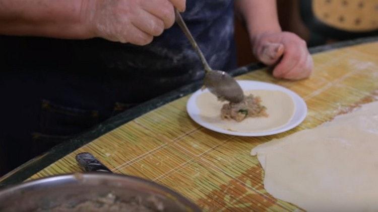 Выкладываем лепешку на блюдце, а в центр ее кладем начинку.