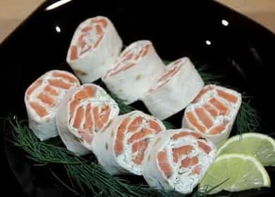 Рулет из лаваша с красной рыбой — вкусная праздничная закуска