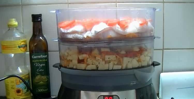 Для приготовления рыбы в пароварке. подготовьте все ингредиенты