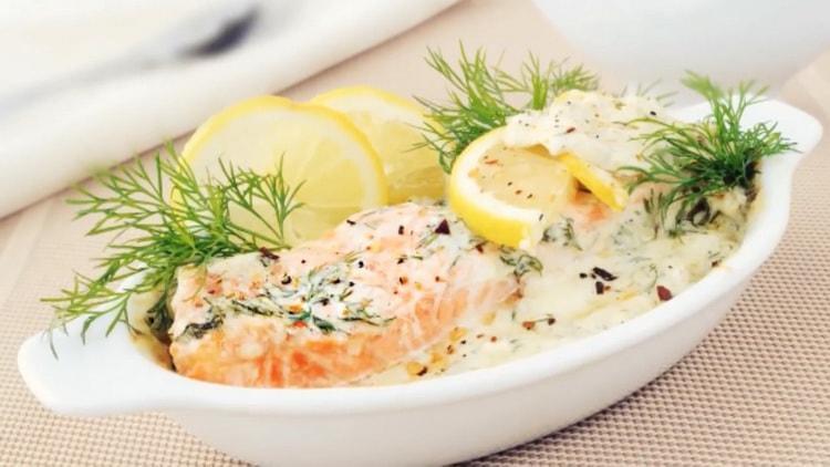 рыба в сливочном соусе готова
