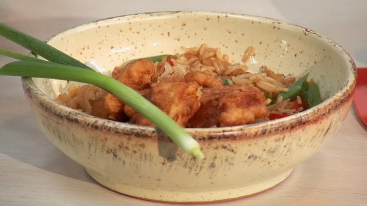 рыба с рисом готова