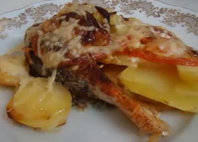 Семга с картошкой, запеченная в духовке с сыром