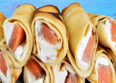 Готовим вкуснейшие закусочные блины с семгой по пошаговому рецепту с фото.