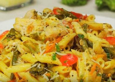 Макароны с овощами и куриной грудкой — итальянская кухня 