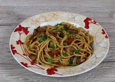 Готовим ароматные спагетти с грибами по пошаговому рецепту с фото.