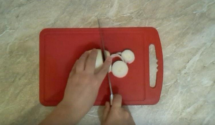 Нарезаем толстыми кольцами лук.