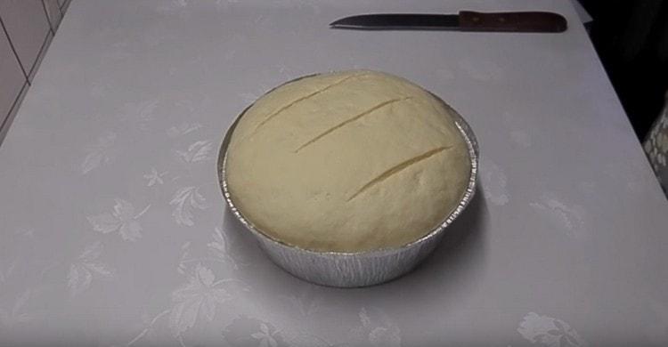 Перед отправкой в духовку делаем несколько надрезов на заготовке при помощи ножа.