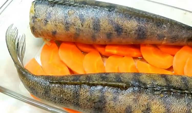 Для приготовления фаршированного судака, выложите рыбу на морковь