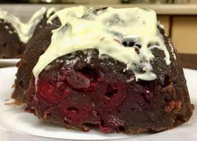 Шоколадный кекс с вишней по пошаговому рецепту с фото