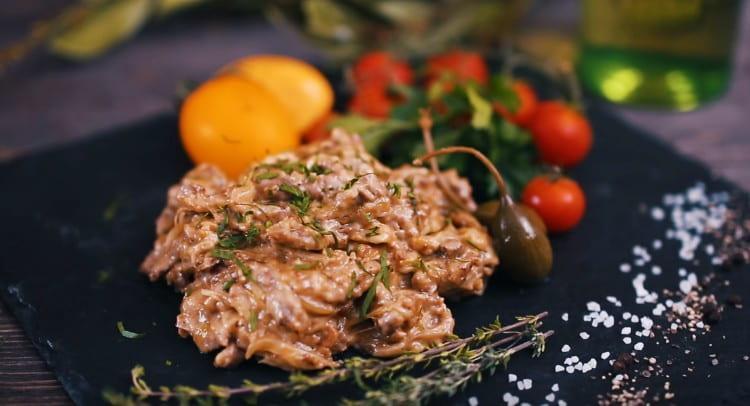 Вот мы и приготовили бефстроганов из говядины со сливками по классическому рецепту.