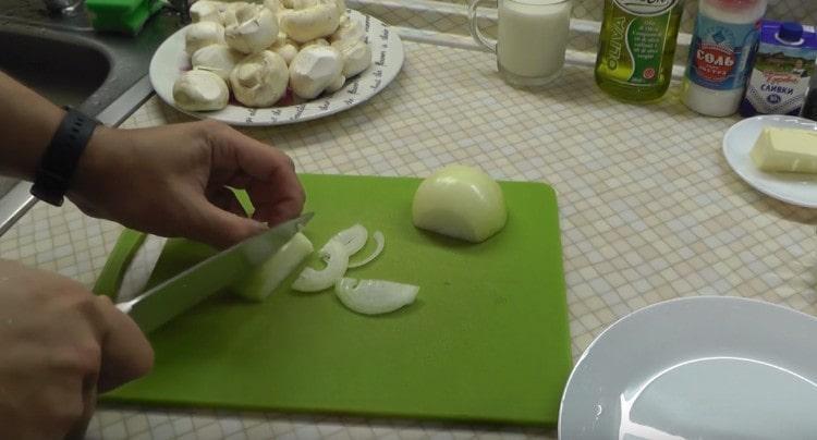 Нарезаем тонкими полукольцами лук.