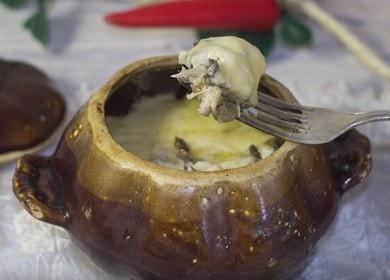 Вкусный жульен в горшочках с курицей и грибами 菱