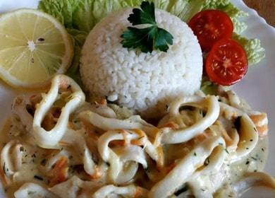 Готовим кальмары в сметане с луком по пошаговому рецепту с фото.