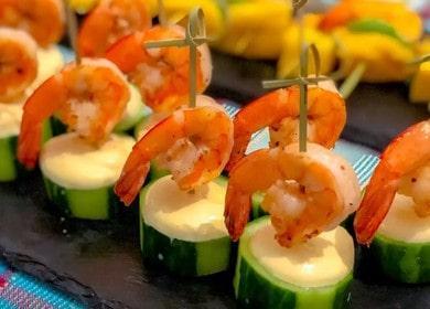 Готовим вкусные и красивые канапе с креветками по пошаговому рецепту с фото.